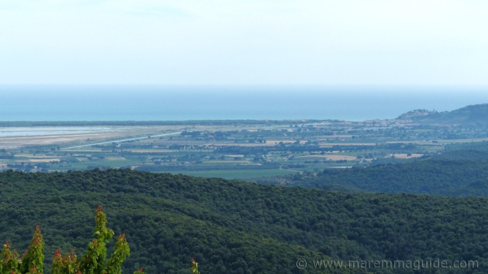 Th eview from Vetulonia to the sea and Castiglione della Pescaia