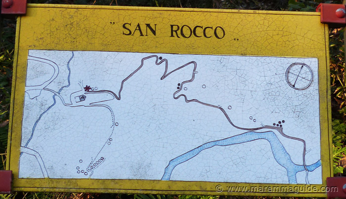 Vie Cave map: the Via Cava di San Rocco trail at Sorano.