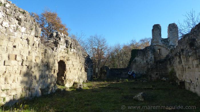Vitozza church: inside it's remaining walls.