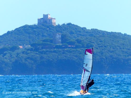 Windsurfing from Capanna Civinini beach Tuscany towards Punta Ala Maremma