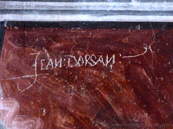Jean Dorsan name carved in the 16th century in the Oratory of San Rocco in Seggiano, Tuscany.