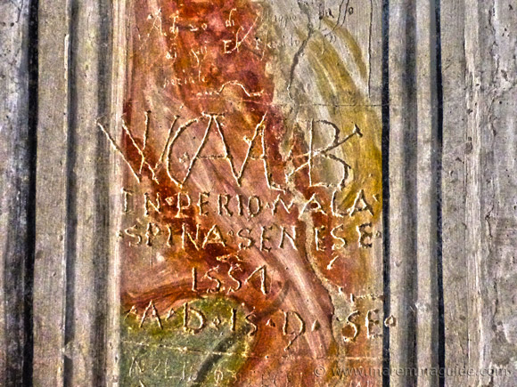 Italian, French and Spanish soldier graffiti fron 1551 and 1555.