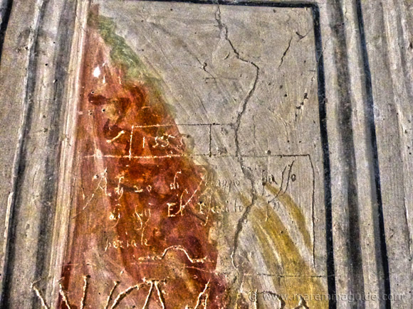 Church graffiti by soldiers dated 1555 in Seggiano Maremma Tuscany.