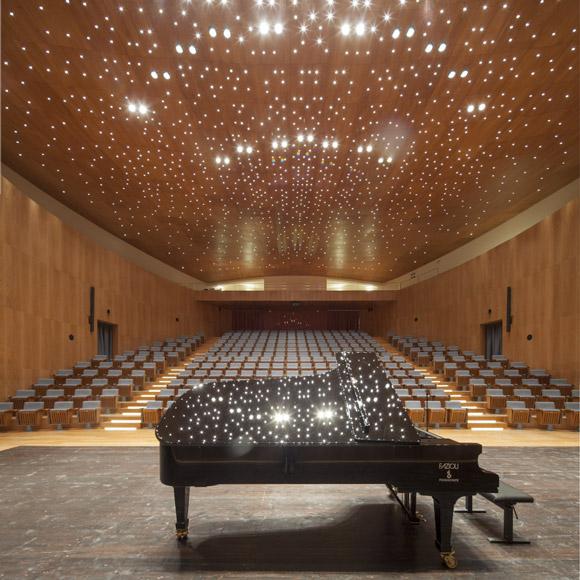 Amiato Piano Festival in Tuscany: the Fazioli grand piano F278 in the concert hall.