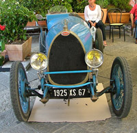 Blue Bugatti on display