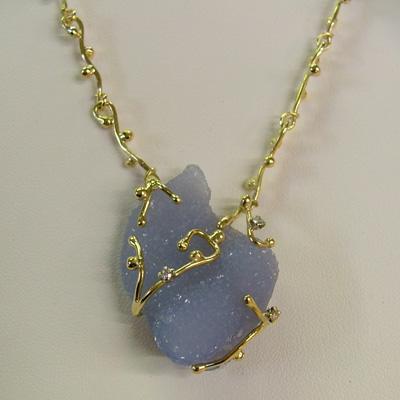 Italian Necklaces: Chrysoberyl Diamond and yellow gold handmade Italian chain