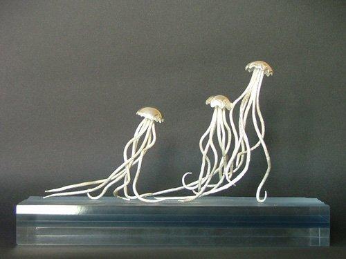 Contemporary Italian sculptures: silver jellyfish