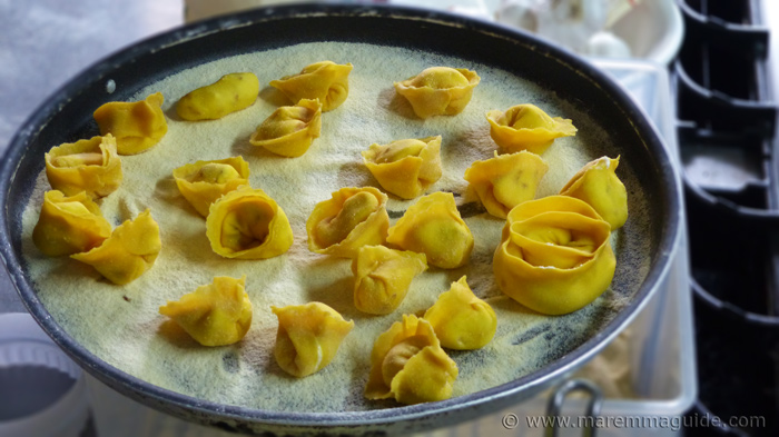 Homemade tortelli filled with goats cheese and Bufalo mozarella.