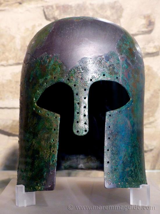 Etruscan bronze helmet.
