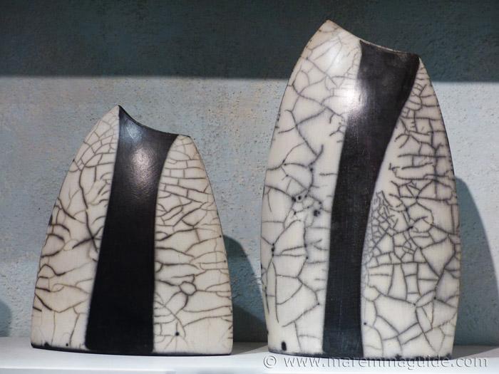 Hand-built Raku ceramics artists vase