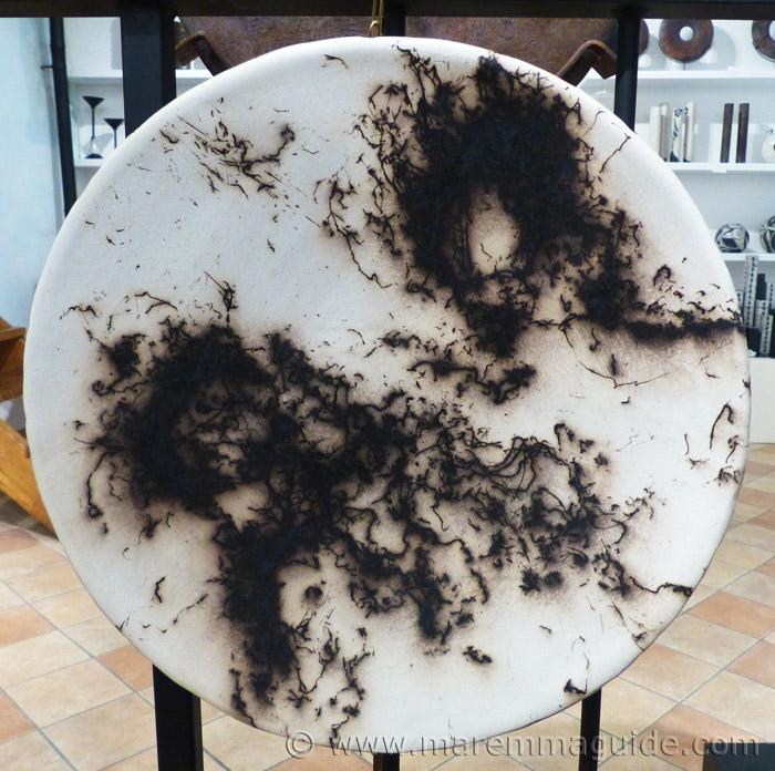 Horse hair Raku plate by Mara Funghi in Tuscany..