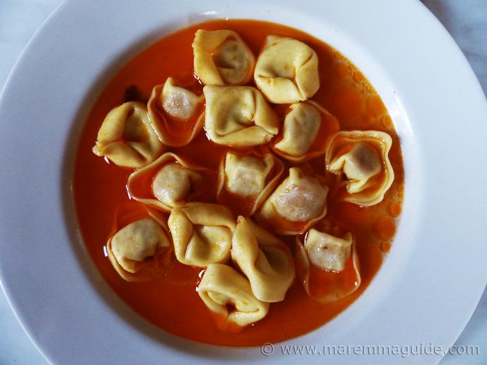 Italian Christmas food: brodo with Cappelletti pasta.