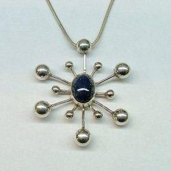 Italian pendant sterling silver natural sapphire gemstone