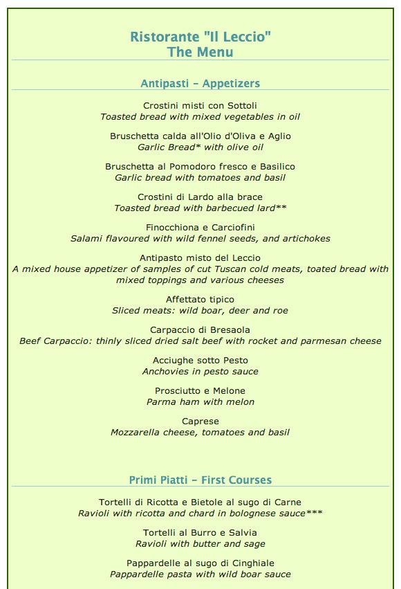 Typical Italian restaurant menu from Maremma Tuscany