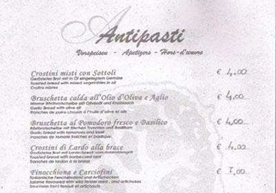 Italian Restaurant Menus