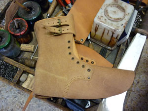 Italian shoemakers shoes in the making in leather