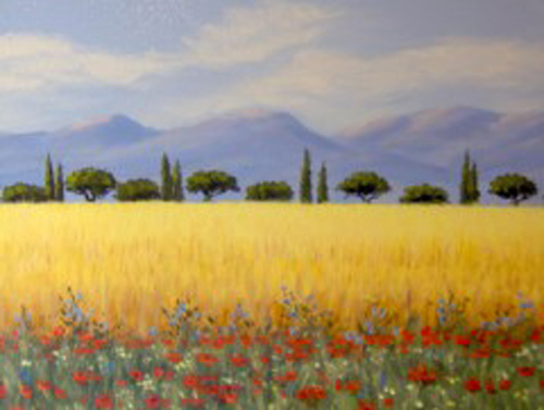 Painting of Maremma Italy in the summer