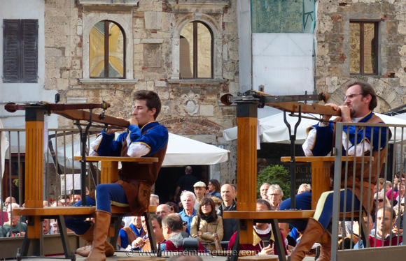 Crossbow archers at the Festa di San Cerbone Massa Marittima Italy