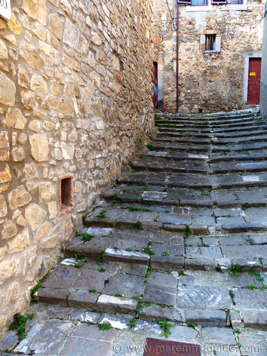 Medieval street in Montegiovi Italy.