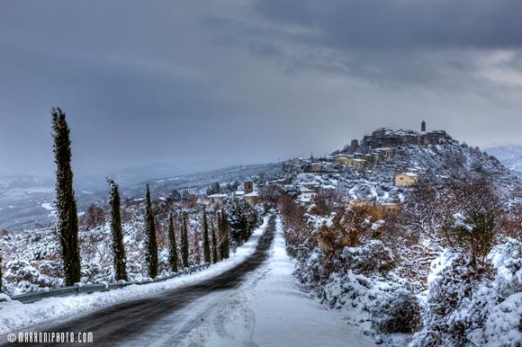 Montegiovi Tuscany under snow.
