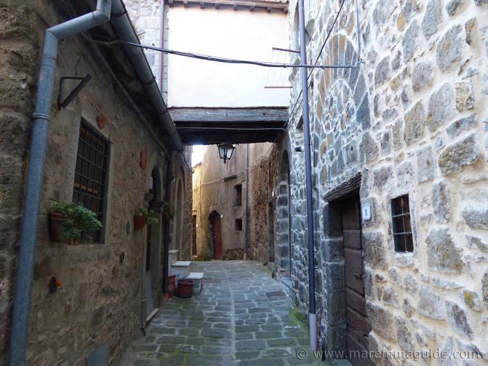 Narrow medieval street in Montelaterone.