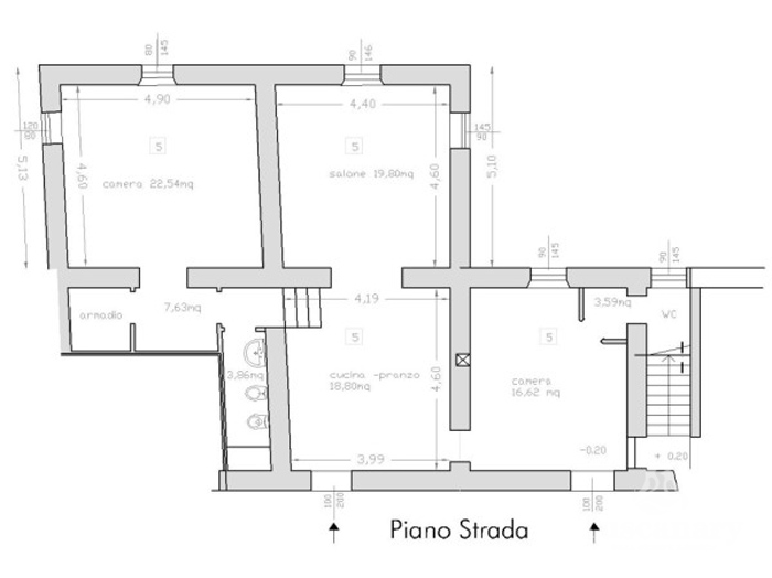 Restored Tuscany olive mill: apartment floor plan.