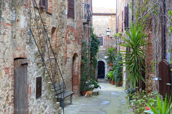Medieval street within Montemerano castle Italy