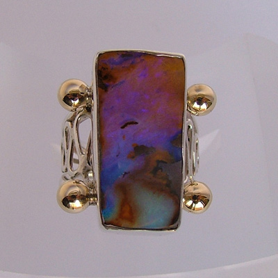 Natural gemstone rings: unique handcrafted rings - Australian opal ring