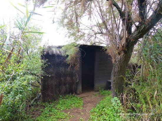 A birdwatching hide in the Orbetello lagoon reserve.