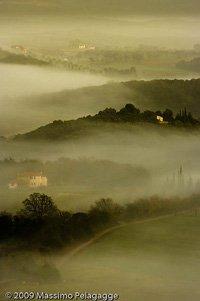 Sunrise with fog in Maremma