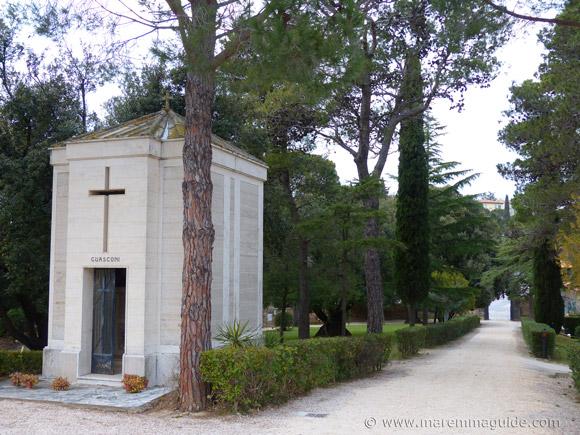 The grounds of the Pieve di San Giovanni chapel in Campiglia Marittima, Tuscany Italy