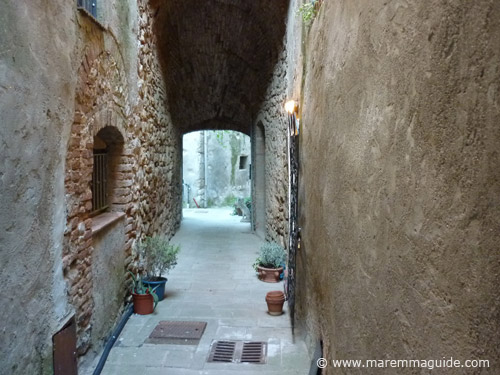 Early middle ages castle street inside Castello di Ravi, Tuscany Maremma