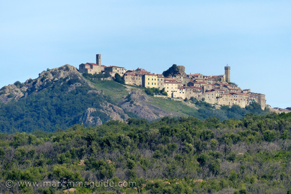View of Roccatederighi Italy from the road SP 89