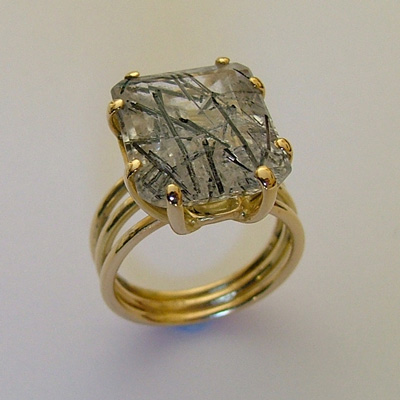 18k Italian Gold Jewelry: Rutilated Quartz and yellow gold ring