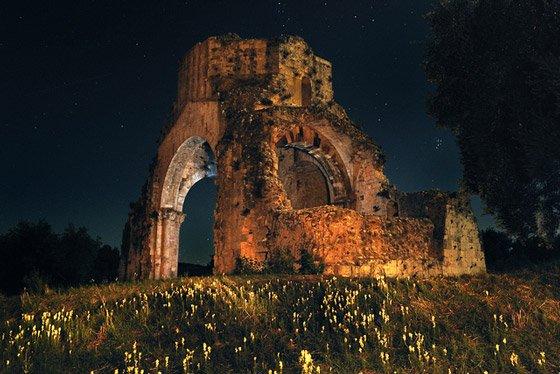 San Bruzio Abbet at night, Magliano in Toscana Maremma Tuscany Italy