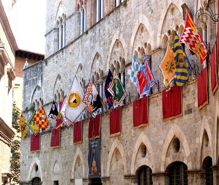 Palio di Siena banners.