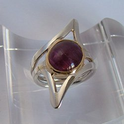 Silver rings with gemstones: red ruby jewelry