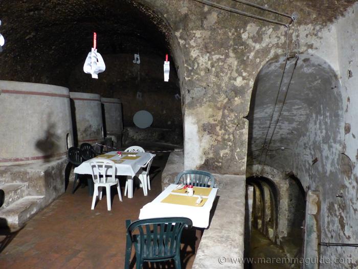 Open cellars in Sorano Tuscany Italy.