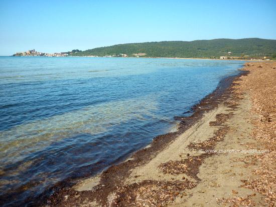 Talamone beach Spiaggia della Fertilia: a windsurfing kitesurfing beach in Tuscany Maremma