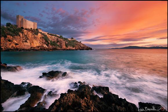 Talamone Italy at sunset in Maremma