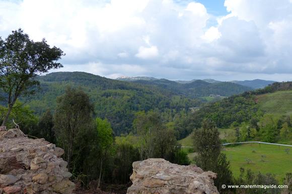 View from Torraccia di Cornia, Lustignano with Pomarance in the distance