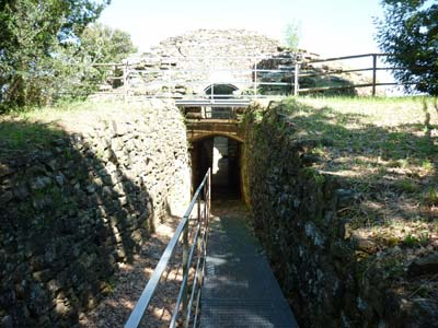 Tumulo della Pietrera: dromos entrance of the Etruscan Tomb of the Pietrera, Vetulonia, Maremma Italy
