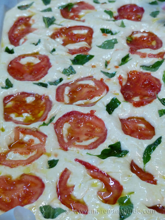 Tuscany Italy cooking courses: making Focaccia tomato and basil bread