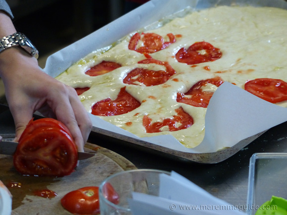 Cooking courses in Tuscany Italy: making focaccia Tuscan bread