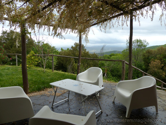 Maremma holiday house: terrace with a view.