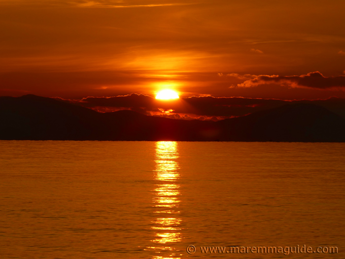 Sunset over the Isola d'Elba in winter
