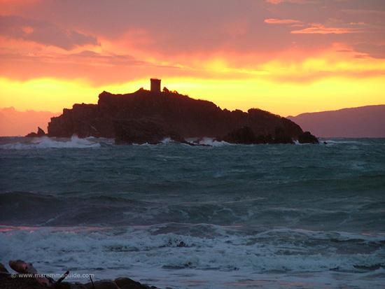 Tuscany island sunset in November