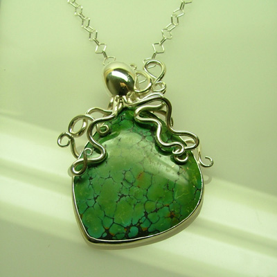 Unusual necklaces: Italian necklaces and pendants - green turquoise jewelry